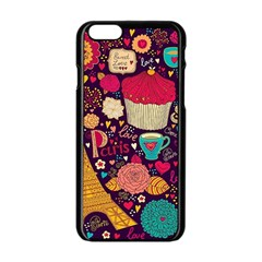 Cute Colorful Doodles Colorful Cute Doodle Paris Apple Iphone 6/6s Black Enamel Case
