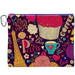 Cute Colorful Doodles Colorful Cute Doodle Paris Canvas Cosmetic Bag (xxxl)