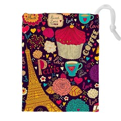 Cute Colorful Doodles Colorful Cute Doodle Paris Drawstring Pouches (XXL)