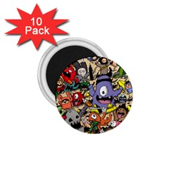 Hipster Wallpaper Pattern 1.75  Magnets (10 pack)
