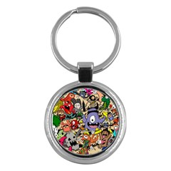 Hipster Wallpaper Pattern Key Chains (round)
