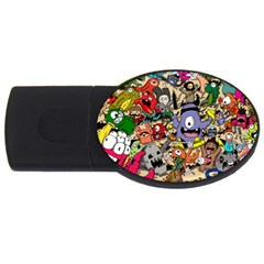 Hipster Wallpaper Pattern Usb Flash Drive Oval (2 Gb)