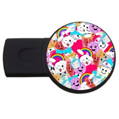 Cute Cartoon Pattern Usb Flash Drive Round (2 Gb)