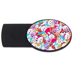 Cute Cartoon Pattern USB Flash Drive Oval (2 GB)