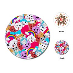Cute Cartoon Pattern Playing Cards (round)