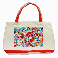 Cute Cartoon Pattern Classic Tote Bag (Red)