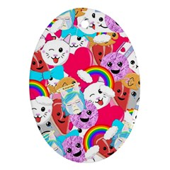 Cute Cartoon Pattern Oval Ornament (two Sides)
