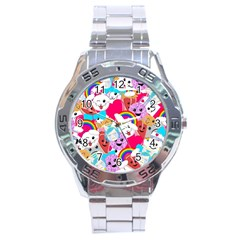 Cute Cartoon Pattern Stainless Steel Analogue Watch
