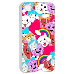 Cute Cartoon Pattern Apple Iphone 4/4s Seamless Case (white)