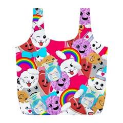 Cute Cartoon Pattern Full Print Recycle Bags (l)