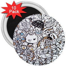Cute Doodles 3  Magnets (10 Pack)