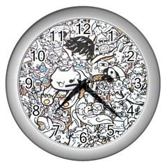 Cute Doodles Wall Clocks (silver)