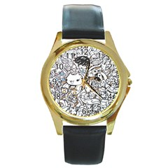 Cute Doodles Round Gold Metal Watch