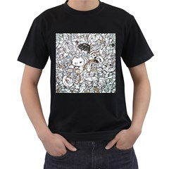 Cute Doodles Men s T Shirt (black) (two Sided)