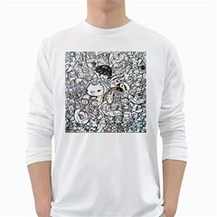 Cute Doodles White Long Sleeve T Shirts