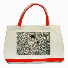 Cute Doodles Classic Tote Bag (Red)