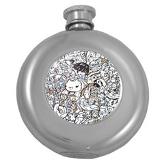 Cute Doodles Round Hip Flask (5 Oz)