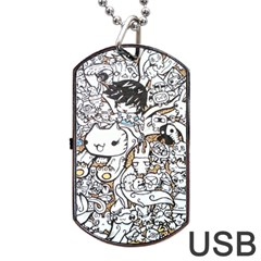 Cute Doodles Dog Tag Usb Flash (two Sides)