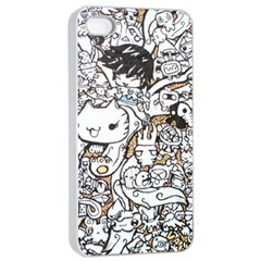 Cute Doodles Apple iPhone 4/4s Seamless Case (White)