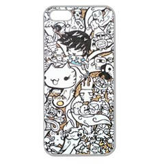 Cute Doodles Apple Seamless Iphone 5 Case (clear)