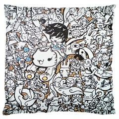 Cute Doodles Large Flano Cushion Case (one Side)