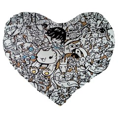 Cute Doodles Large 19  Premium Flano Heart Shape Cushions