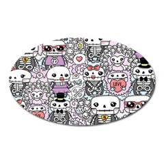 Kawaii Graffiti And Cute Doodles Oval Magnet