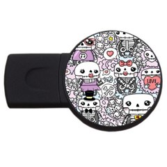 Kawaii Graffiti And Cute Doodles Usb Flash Drive Round (4 Gb)