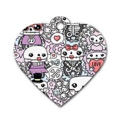 Kawaii Graffiti And Cute Doodles Dog Tag Heart (two Sides)