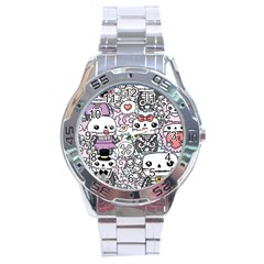 Kawaii Graffiti And Cute Doodles Stainless Steel Analogue Watch