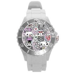 Kawaii Graffiti And Cute Doodles Round Plastic Sport Watch (l)
