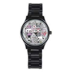 Kawaii Graffiti And Cute Doodles Stainless Steel Round Watch