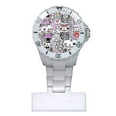 Kawaii Graffiti And Cute Doodles Plastic Nurses Watch
