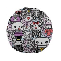 Kawaii Graffiti And Cute Doodles Standard 15  Premium Flano Round Cushions