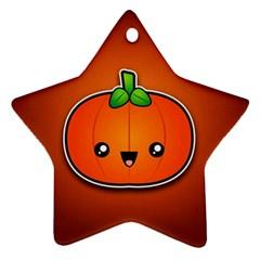 Simple Orange Pumpkin Cute Halloween Ornament (star)