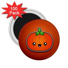 Simple Orange Pumpkin Cute Halloween 2 25  Magnets (100 Pack)