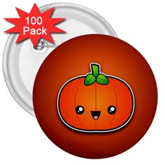 Simple Orange Pumpkin Cute Halloween 3  Buttons (100 pack)