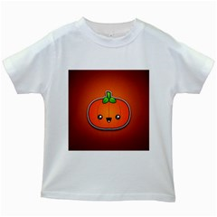 Simple Orange Pumpkin Cute Halloween Kids White T Shirts