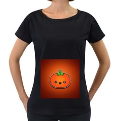 Simple Orange Pumpkin Cute Halloween Women s Loose Fit T Shirt (black)