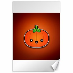 Simple Orange Pumpkin Cute Halloween Canvas 24  X 36