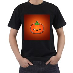 Simple Orange Pumpkin Cute Halloween Men s T-Shirt (Black)
