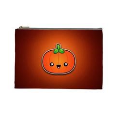 Simple Orange Pumpkin Cute Halloween Cosmetic Bag (Large)