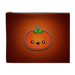 Simple Orange Pumpkin Cute Halloween Cosmetic Bag (xl)