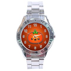 Simple Orange Pumpkin Cute Halloween Stainless Steel Analogue Watch