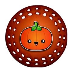 Simple Orange Pumpkin Cute Halloween Round Filigree Ornament (two Sides)
