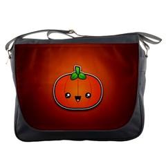 Simple Orange Pumpkin Cute Halloween Messenger Bags
