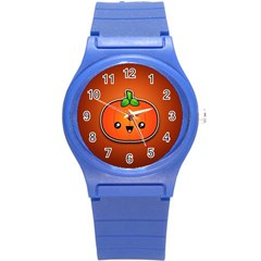 Simple Orange Pumpkin Cute Halloween Round Plastic Sport Watch (s)