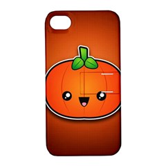 Simple Orange Pumpkin Cute Halloween Apple Iphone 4/4s Hardshell Case With Stand