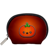 Simple Orange Pumpkin Cute Halloween Accessory Pouches (Small)