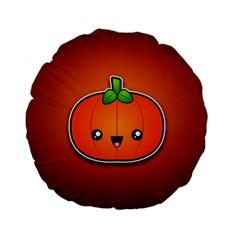 Simple Orange Pumpkin Cute Halloween Standard 15  Premium Flano Round Cushions